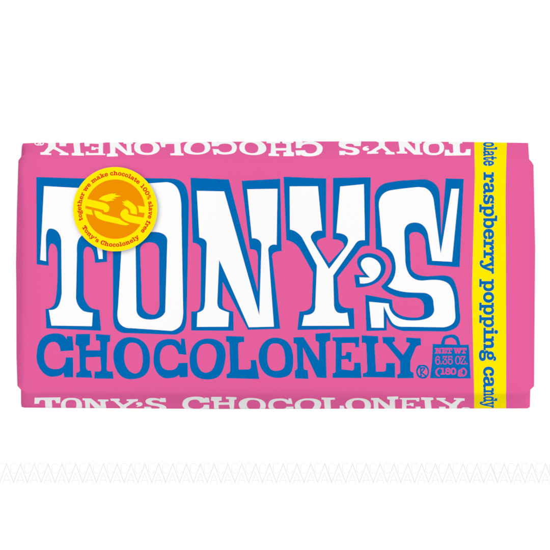 Tony's Chocolonely Λευκή Σοκολάτα με Βατόμουρο & Popping Candy 180g